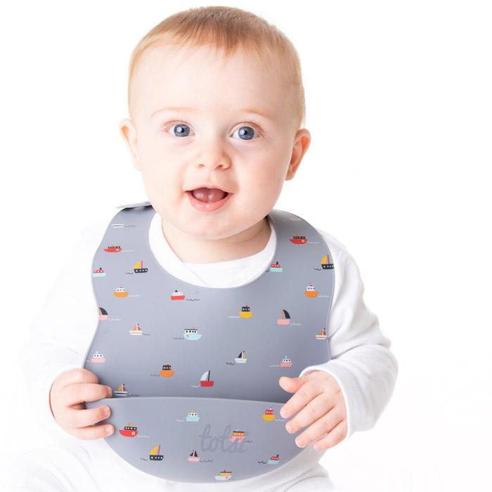 baby boy wearing totsi weaning bib